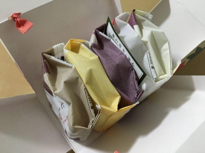 錦もみじもみじ饅頭五種詰め合わせの箱を開けた状態