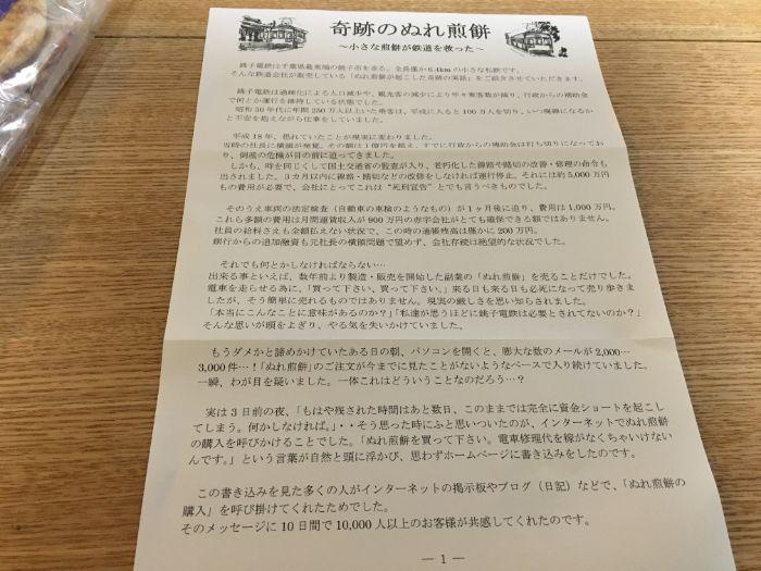 銚子電鉄ぬれ煎餅奇跡についての用紙