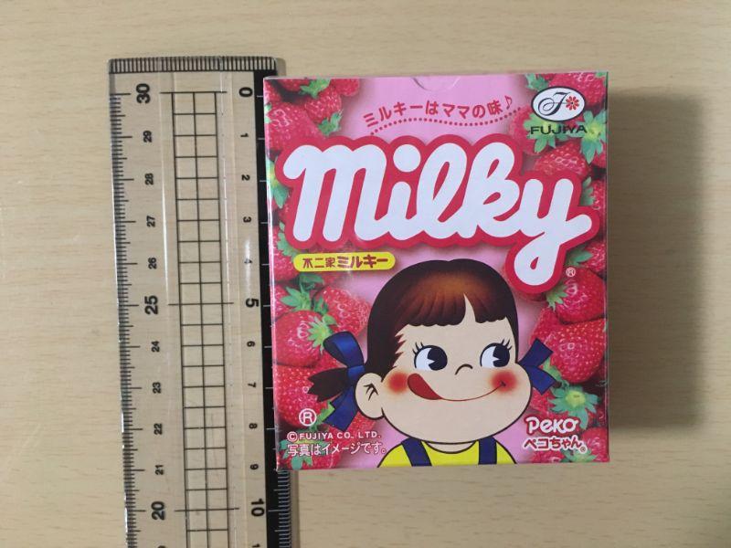 ミルキーとちおとめパッケージのサイズ